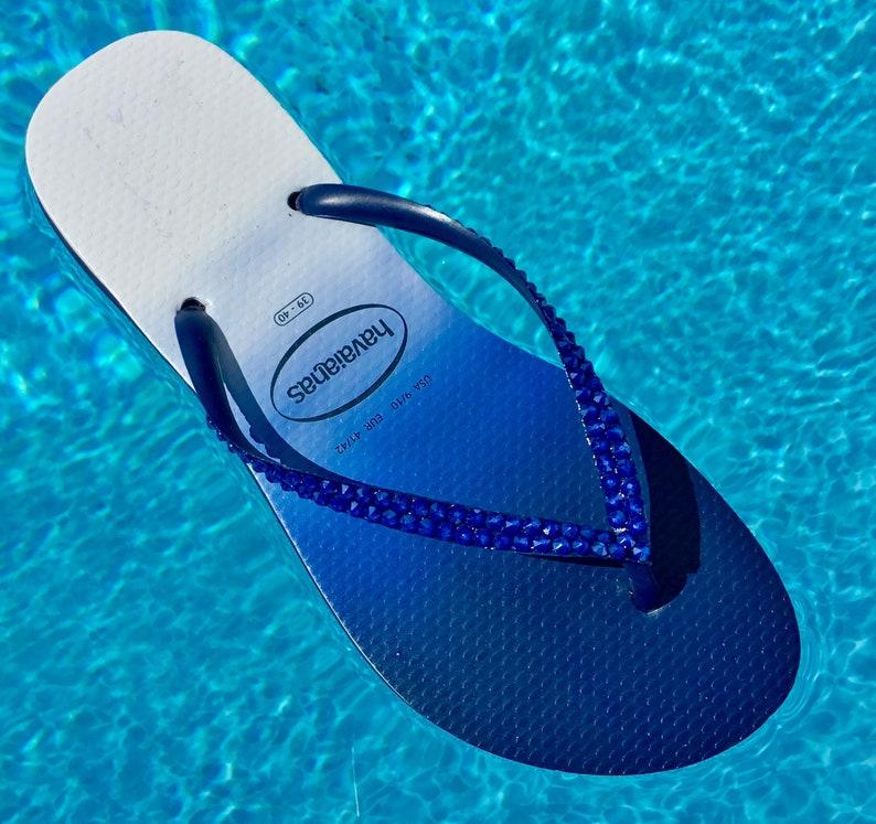 27493b345022 Royal Blue Havaianas Slim Flip Flops W 9 10 Navy Ombré fade
