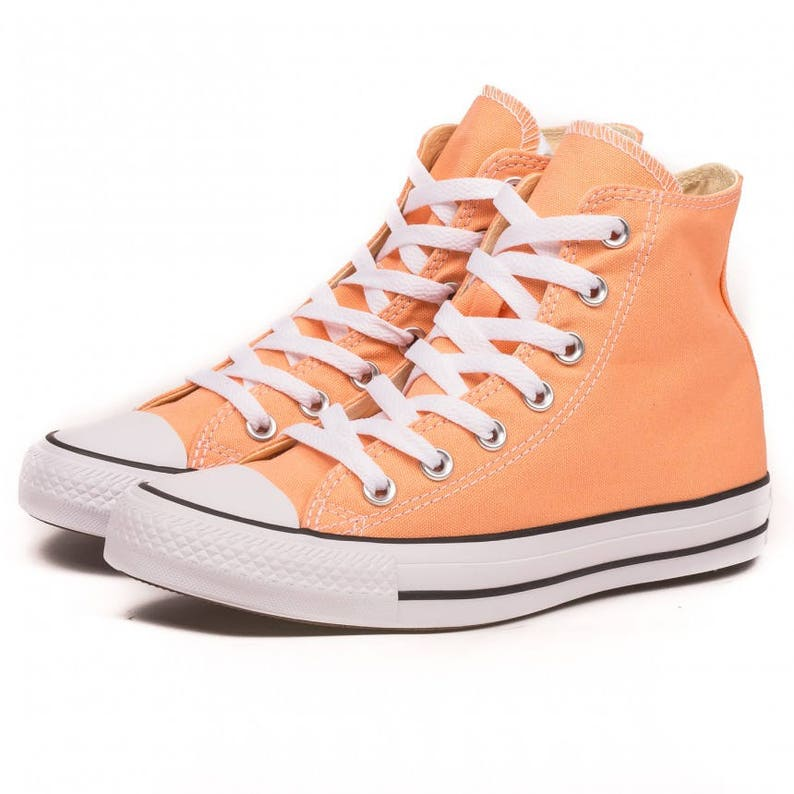 5a027e815b46 Peach Converse High Top Sunset Apricot w  Swarovski Crystal