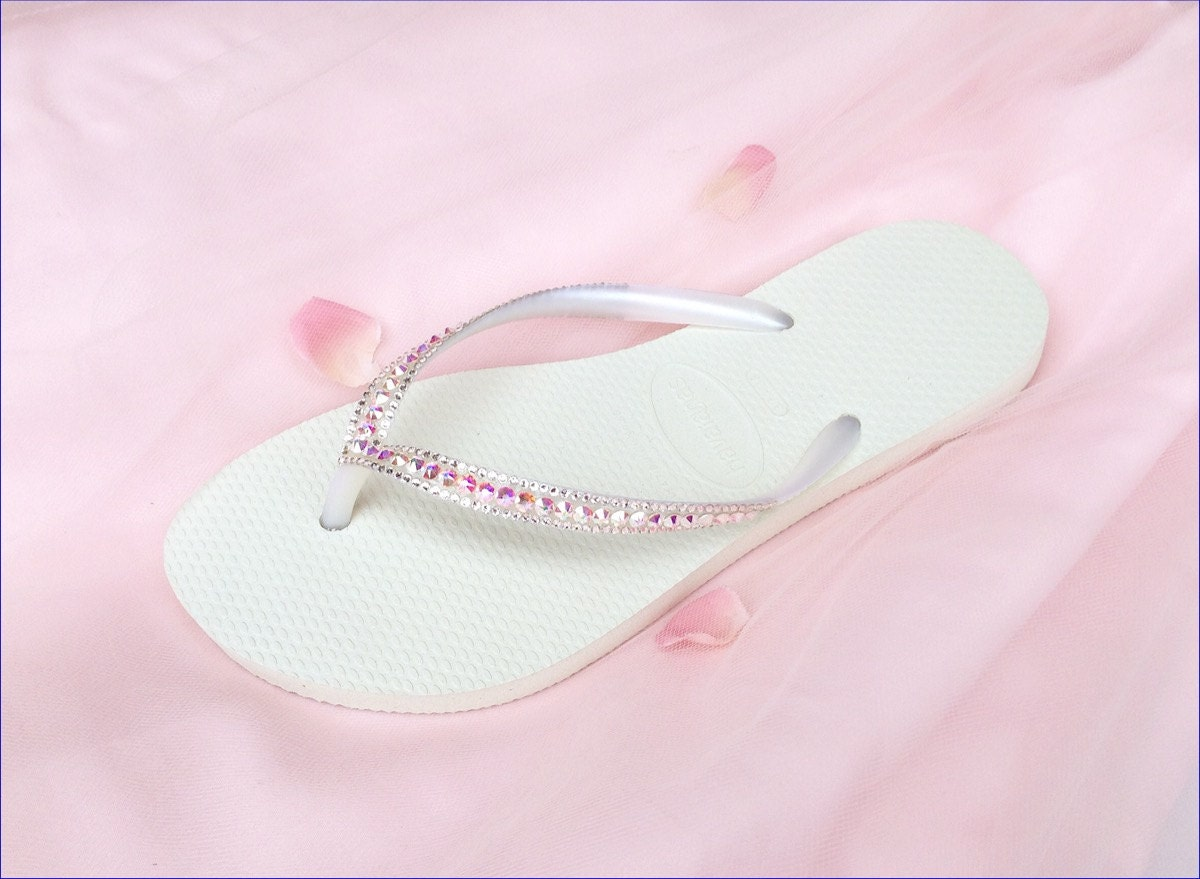 c3705e04e98e81 Custom Havaianas Slim Flip Flops Blush Pink White Wedding Crystal AB  Iridescent w  Swarovsk Rhinestone Jewel Bling Bridal Sandal Beach Shoes