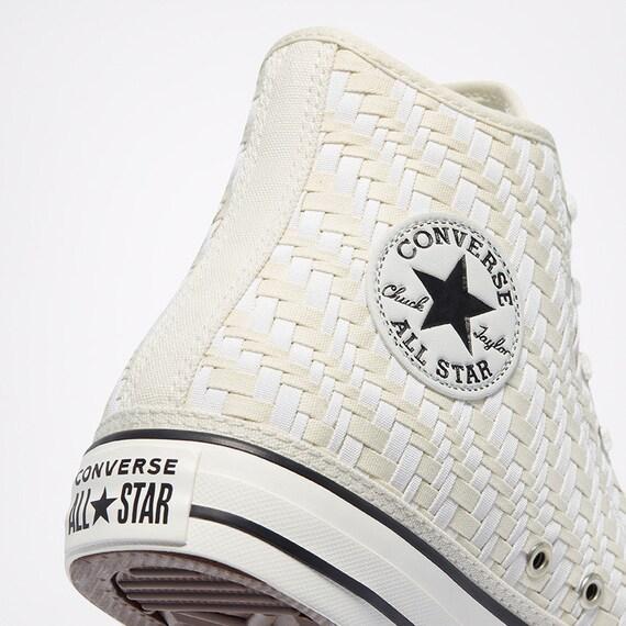 Mesh Converse Off White Lace Weave Boots Crochet Knit High Top Kicks w/ Swarovski Crystal Chucks Taylor All Star Wedding Sneakers Bride Shoe