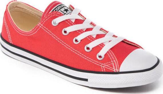 Red Converse Dainty Ruby Custom Beach Wedding Slip ons Kicks w/ Swarovski Crystal Jewels Rhinestone Bling Chuck Taylor All Star Sneaker Shoe