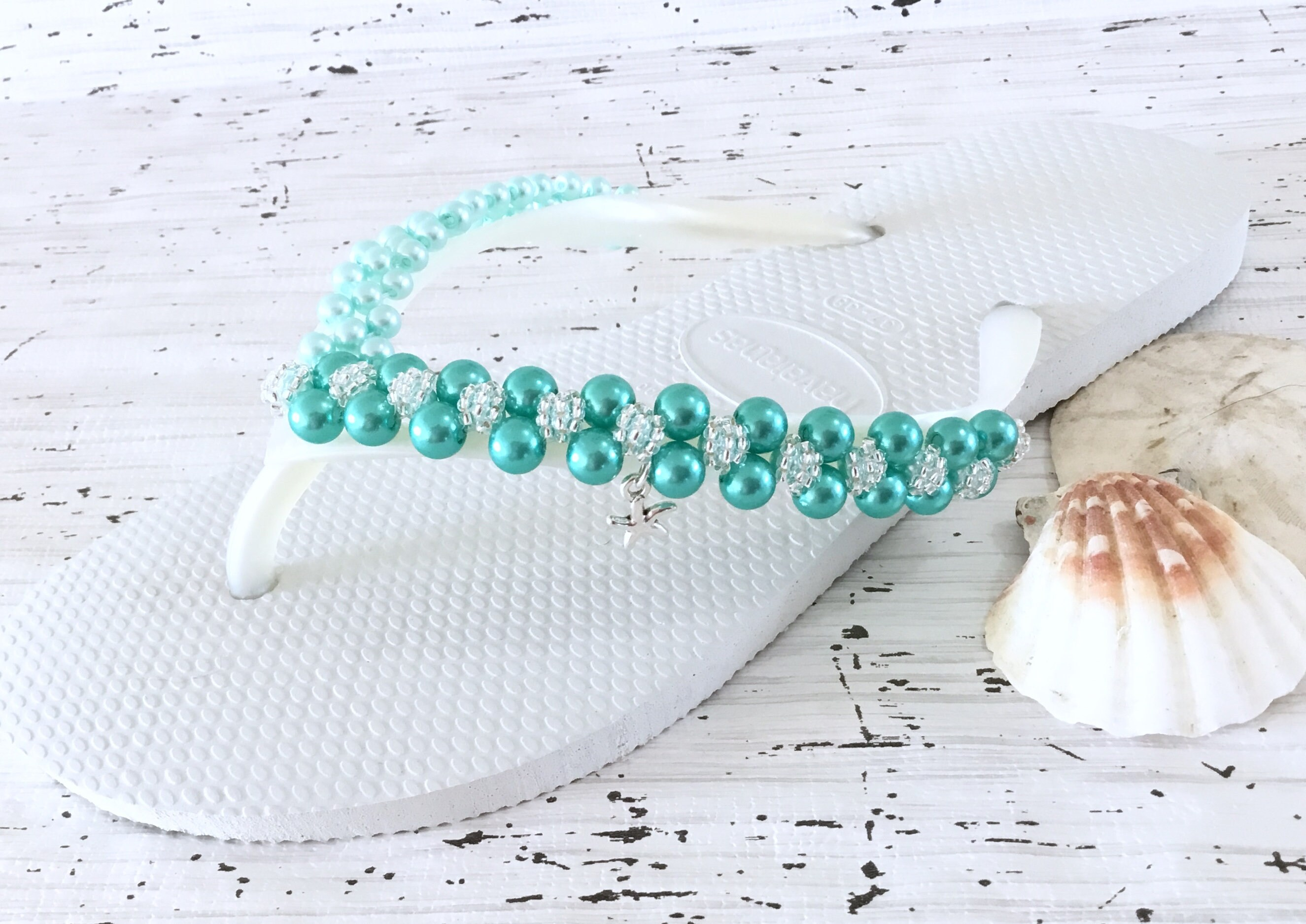 4be035dbf6cf Aqua Turquoise Flip Flops Pearl Havaianas Slim Silver Starfish Bridal  Crystal Roset sew on w Swarovski Bride BridesMaid Beach Wedding shoe