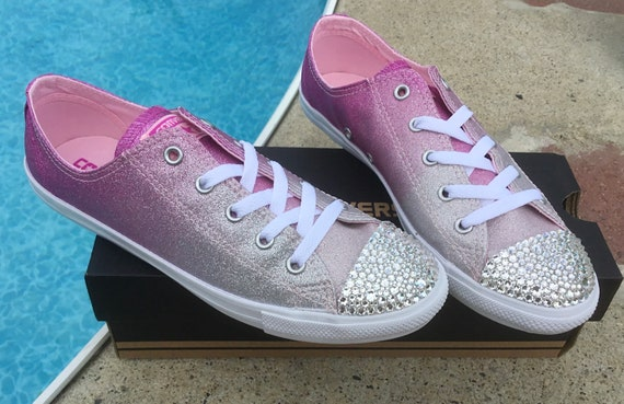 Pink Converse Dainty Ombré low top Slip on Glitter Magenta Chuck Taylor Custom w/ Swarovski Crystal All Star Wedding Bride Sneaker Shoe