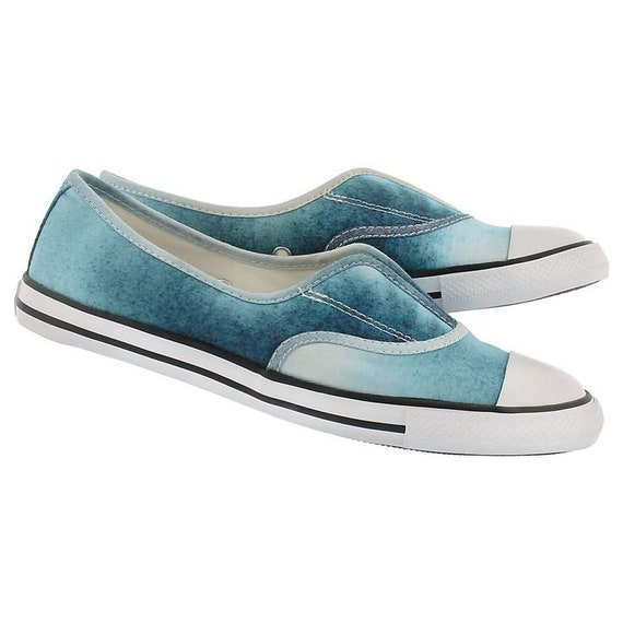 Blue Converse Slip on Tie Dye Cove Ballet Low flats Wedding Lace Bridal w/ Swarovski Crystal Chuck Taylor Rhinestone All Star Sneakers Shoes