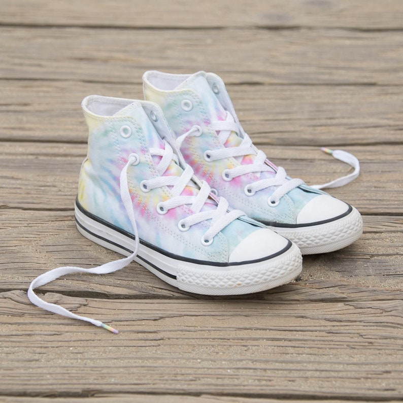 2a0527f62c0d Tie Dye Converse High Top Pastel Canvas Rainbow Custom Kicks