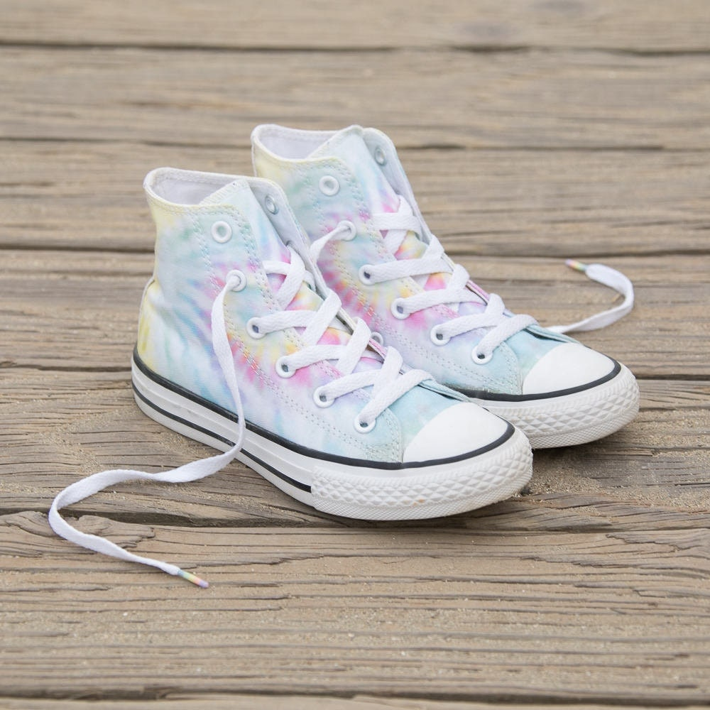 f6a5629a5fcde6 Tie Dye Converse High Top Pastel Rainbow Canvas Custom Kicks w  Swarovski  Crystal Rhinestone Kids Womens Chuck Taylor All Star Sneakers Shoe