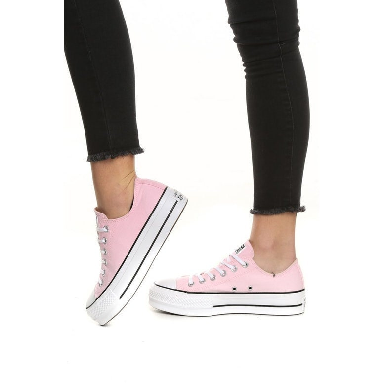 9796bbf319d715 Platform Pink Converse heel wedge Lift Canvas Low Top Club Bling w   Swarovski Crystal Rhinestone Chuck Taylor All Star Sneakers Shoes