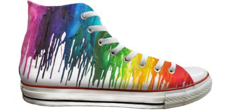 Custom Print Rainbow Crayon Drip Pride Parade LGTBQ High Top  ebd70006f
