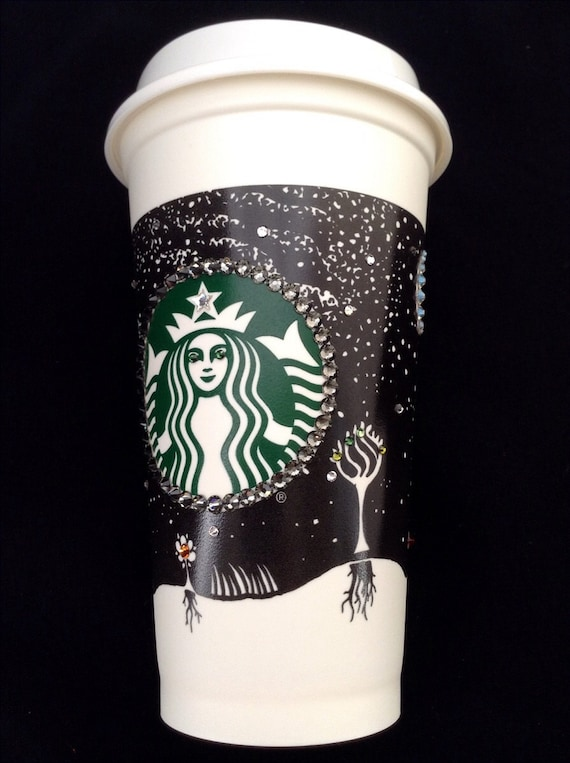 Starbucks Swag Collector Travel Cup Fall w/ Swarovski Crystal reuseable 16oz Grande Eco Coffee Tea Tumbler mug drink Rhinestone Bling Gift