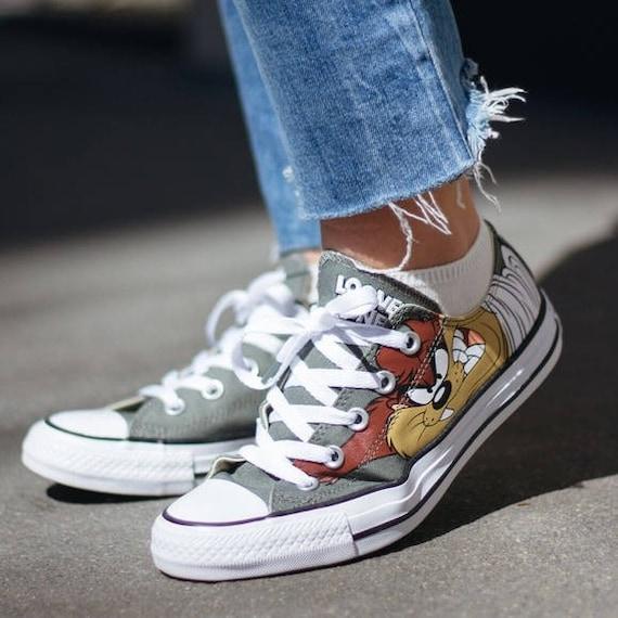 Looney Tunes Converse Kids Children Retro Cartoon Taz Devil  fd58e117a82e