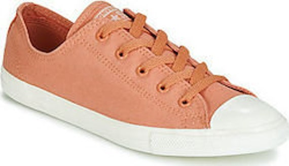 Desert Coral Terra Cotta Pink Converse Dainty Canvas Bride Slip on w/ Swarovski Crystal Chuck Taylor All Star Bling Wedding Sneakers Shoes