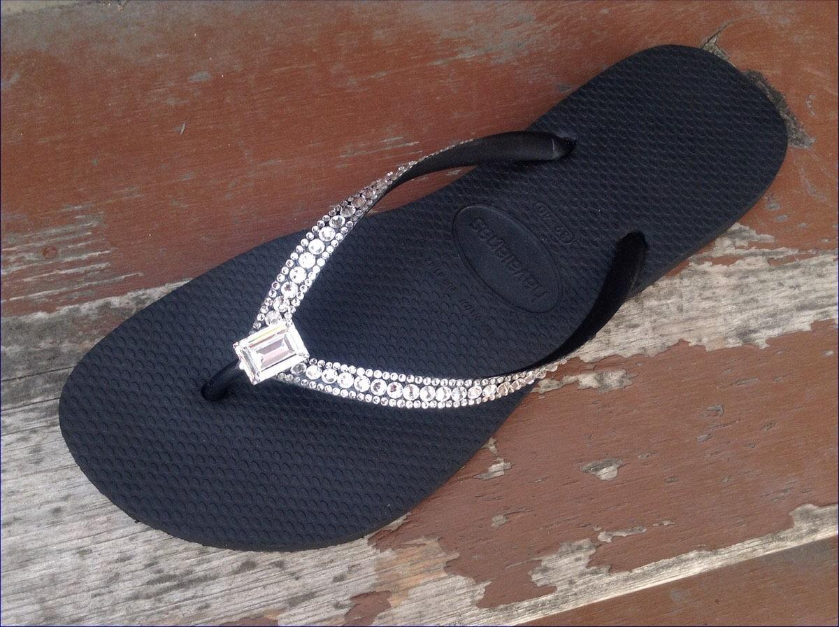 c5babb157637 Havaianas Slim Custom Sophisticate Crystal Flip Flops w  Swarovski Crystal  Bling Princess Baguette Bride Sandal Jewel Rhinestone Thong Shoes