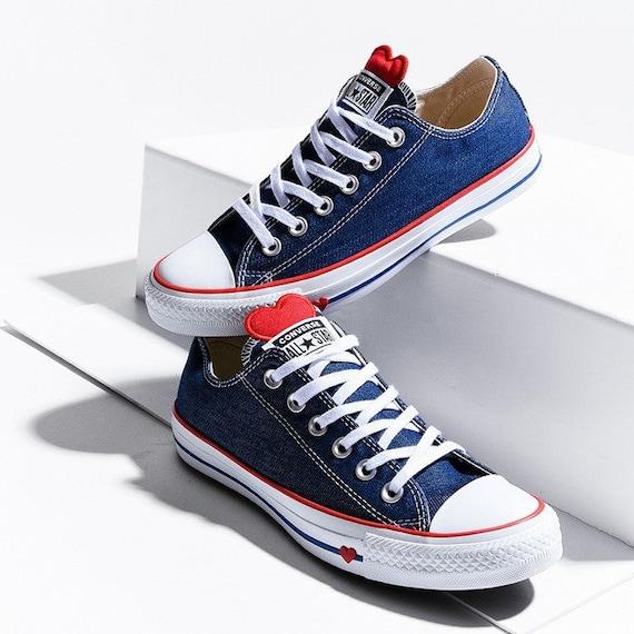Blue Jean Navy Converse Love Heart