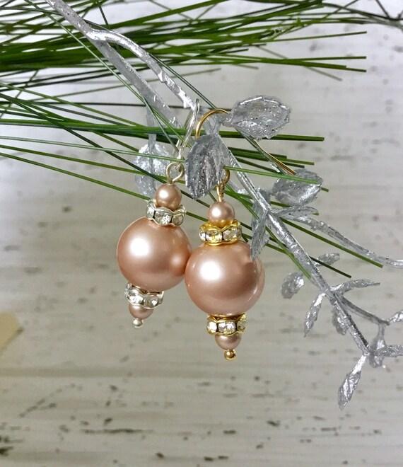 Cream Powder Almond Gold Chandelier Pearl Earrings Swarovski Crystal Pearls Silver Golden Drop Dangle Hook Titanium Hypo Allergy Ladies Gift