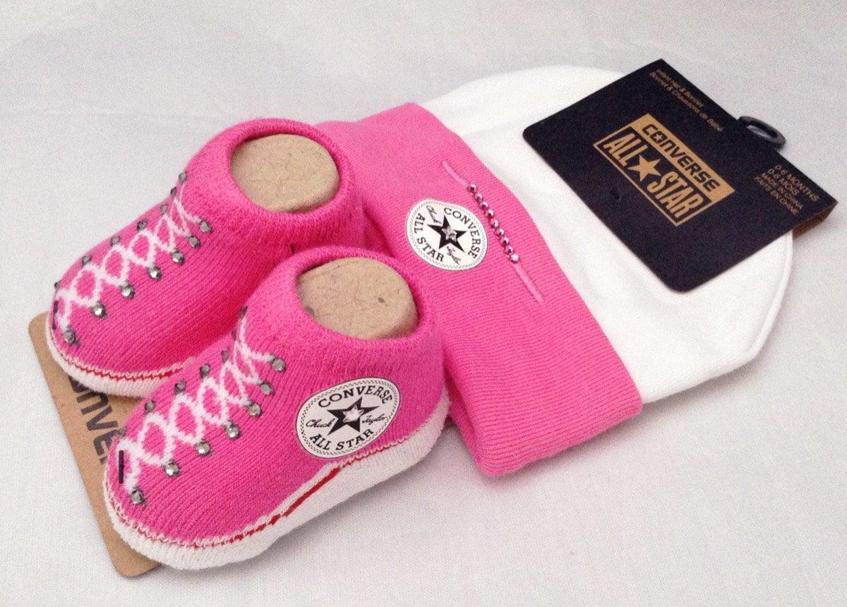 87e99265e7e2 Infant Girl Pink Newborn Converse New Mom Baby Shower Gift Booties Beanie  Cap w  Swarovski Crystal All Star Bling Knit Crib Christening Shoe