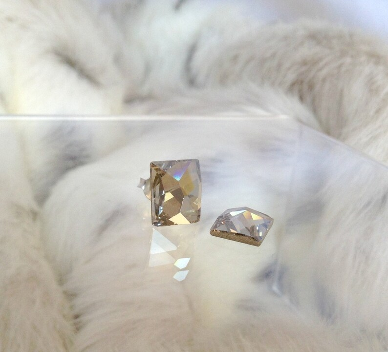 1d826ee5cab8 Crystal Earring Rectangle Baguette Silver or Hypo Titanium