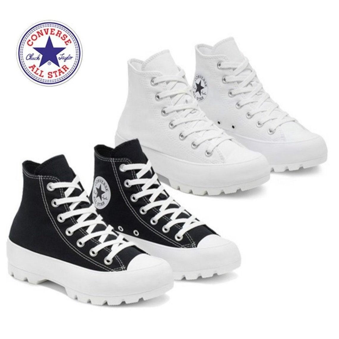 Plataforma negra Converse Canvas Wedge High Top Lugged Boot Kicks Custom w/ Swarovski Crystal Rhinestone Chuck Taylor All Star Sneakers Zapatos