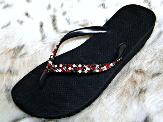 "Rainbow Flip Flops Custom Havaianas Black Low Wedge Heel 1.5"" Glass Slippers Soda Pop w/ Swarovski Crystal High Light Jewel Rhinestone Shoes"