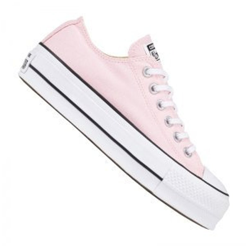 Pink Converse Platform heels wedge White Lift Canvas Low Top  b3cbf7af2b