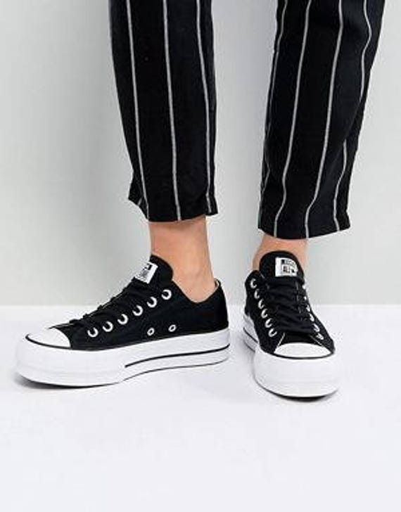 9a388d728d Black Platform Converse Lift heel wedge Canvas Low Club w/ Swarovski  Crystal Rhinestone Chuck Taylor All Star Wedding Bridal Sneakers Shoes