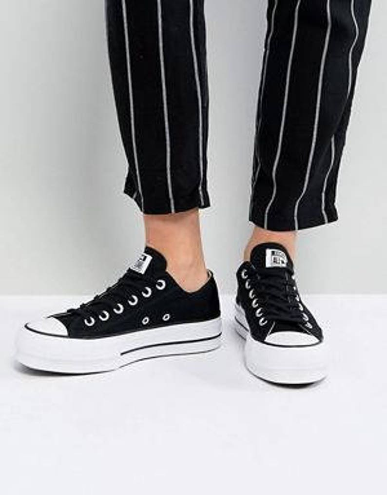 af79d99101dd Black Platform Converse Lift heel wedge Canvas Low Club w