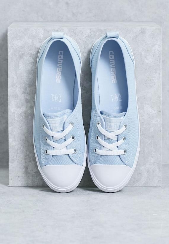 Baby Blue Converse Low Slip On Ballet flat Sky Wedding Lace Bridal w/ Swarovski Crystal Chuck Taylor Rhinestone All Star Sneakers Shoe