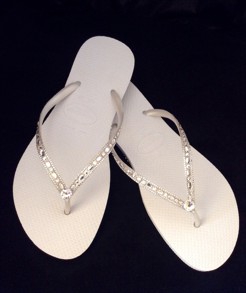 7bb5eaee43599 Havaianas Slim White Crystal Rhinestone Beach Wedding Flip Flops Blushing  Bride Custom w/ Swarovski jewels Beach Bridal Bling Reception Shoe