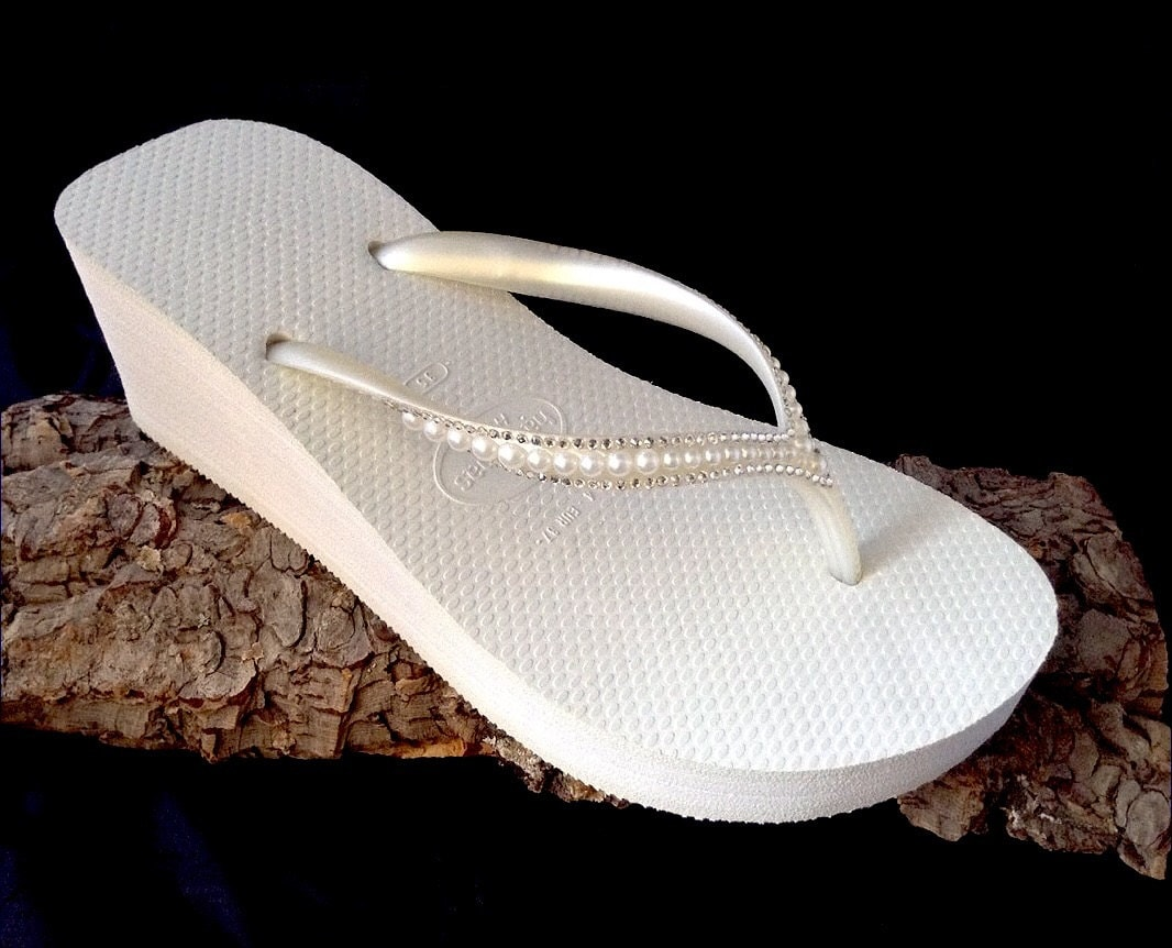 a912c79a6 Off White Havaianas High Wedge Heel Flip Flops 2.4 w  Swarovski Crystal  Rhinestone Pearl Sophisticate Ivory Bride Wedding Bling Bridal Shoes
