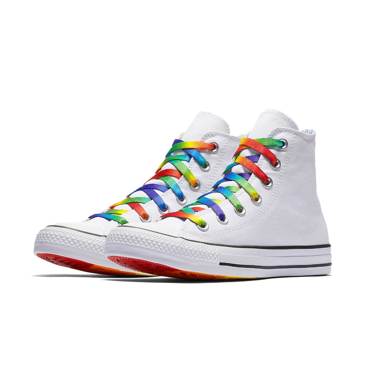 Converse Pride Parade High Top White Rainbow Womens US 6 Custom LGTBQ w   Swarovski Crystal Rhinestone Chuck Taylor All Star Sneakers Shoes 9a1400da2