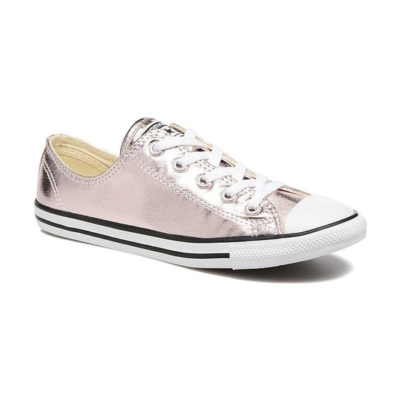 Pink Converse Dainty Blush Metallic Rose Quartz Custom Bridal Kicks Wedding Slip On w/ Swarovski Crystal Chuck Taylor All Star Sneakers Shoe