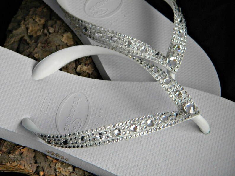 2bbb9ce612e38 Custom Crystal Wedding Flip Flops Full Moon Havaîanas or