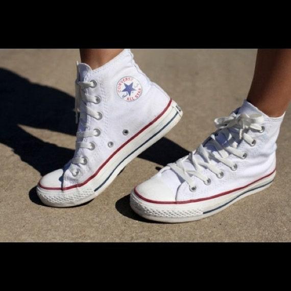 Kids White Converse High Tops Children Youth Girl Boy Custom Kick w/ Swarovski Crystal Rhinestone Bling Chuck Taylor All Star Sneakers Shoes