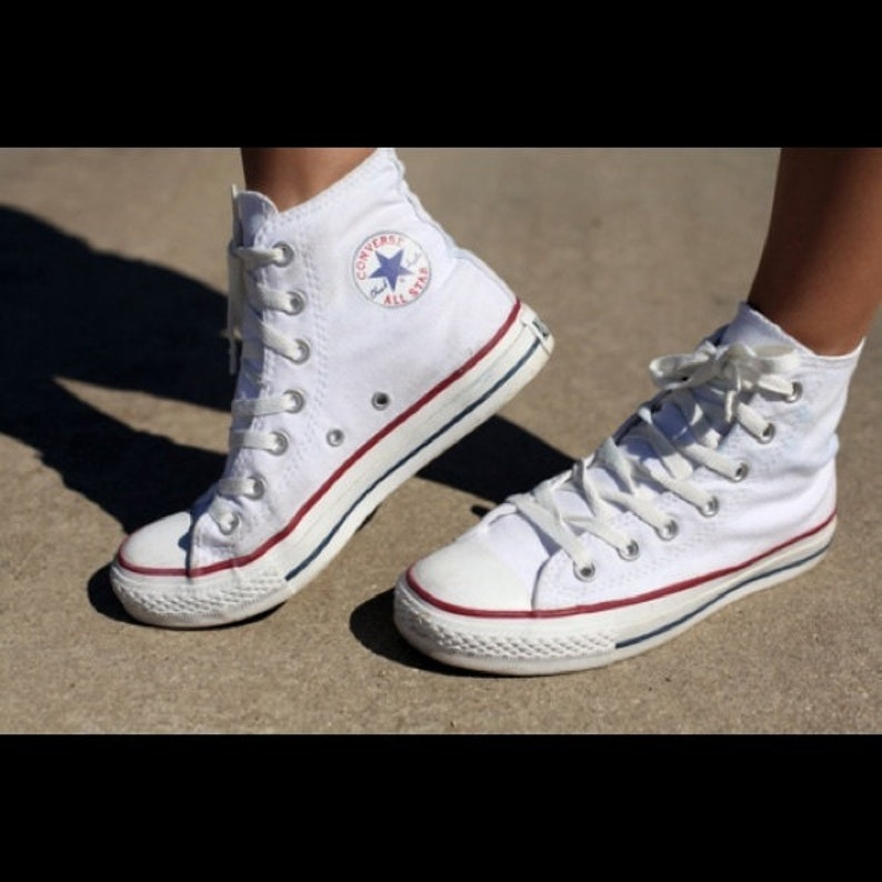 cf6e0e781749 Kids White Converse High Tops Children Youth Girl Boy Custom