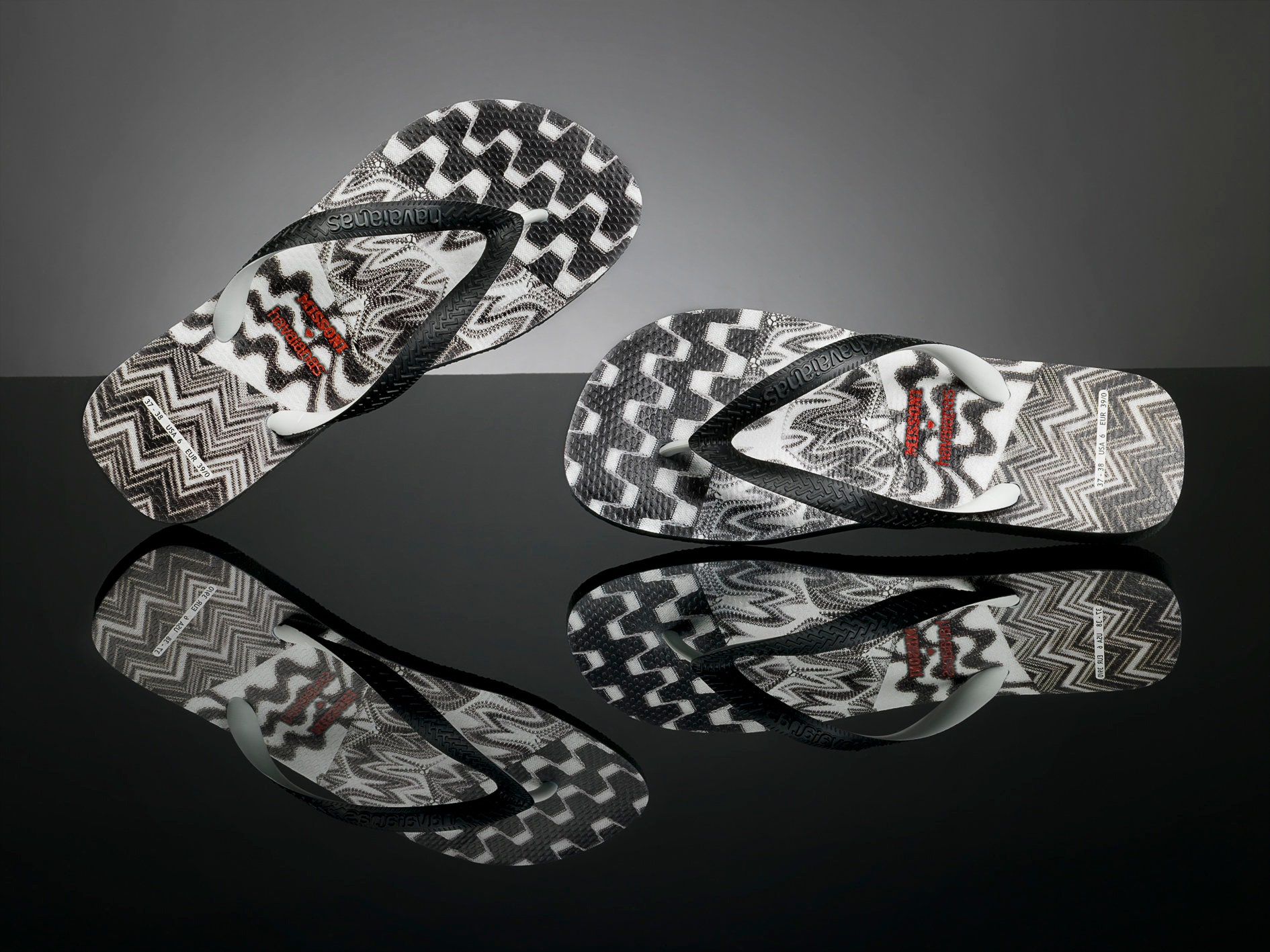 f40fd523dcd5 MISSONI Havaianas flip flops Black Zig Zag flat Rare Patch Work w   Swarovski Crystal Rhinestone Jewel Bling GlassSlippers Custom Thong Shoe