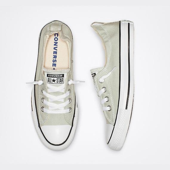 Light Gray Converse Shoreline Slip on Cloud Custom w/ Swarovski Crystal Rhinestone Jewel Grey Chuck Taylor All Star Wedding Sneakers Shoes