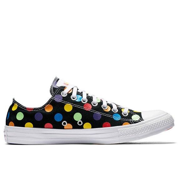 Black Pride Converse Low 2018 Rainbow Glitter Parade Polka Dot Ladies Custom LGTBQ2 w/ Swarovski Crystal Chuck Taylor All Star Sneakers Shoe