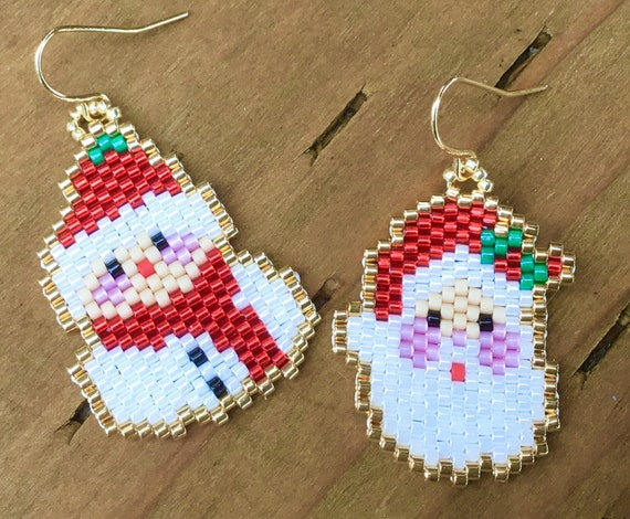 Christmas Santa Claus Snowman Mr Mrs Cosplay Earrings Brooch Pin Pendant FOB Charm Xmas Tree Ornament Silver 24k Gold Seed Bead Jewelry Gift
