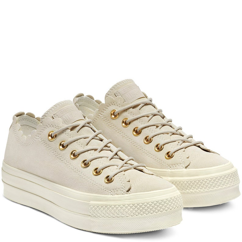 852a2ca0c66c Ivory Beige Converse Platform Ivory Gold Frill Suede Leather