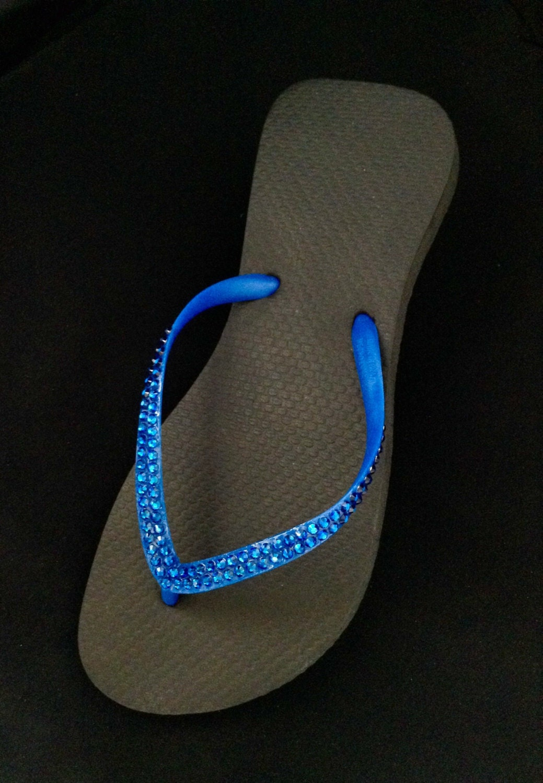 f639baacc Black Flip Flops Electric Blue Slim Sandals Brazilian Cariris flat w  Swarovski  Crystal Custom Rhinestone Jewel Beach Wedding Bling Shoes