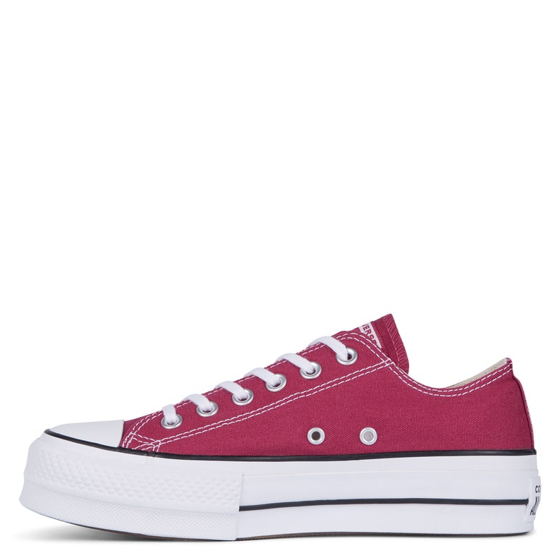 d04d1c8335fa Burgundy Converse Platform heel wedge Raspberry Red Lift