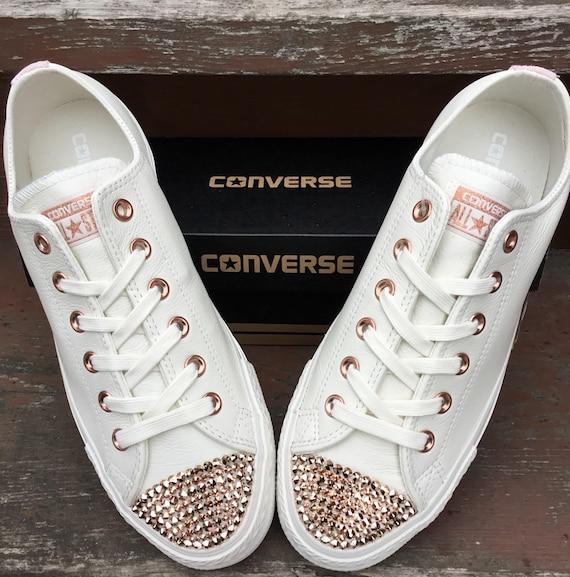 Ivory Converse Leather Low Top Cream Blush Pink Rose Gold Wedding Chuck Taylor w Swarovski Crystal Rhinestone Jewel All Star Sneaker Shoes