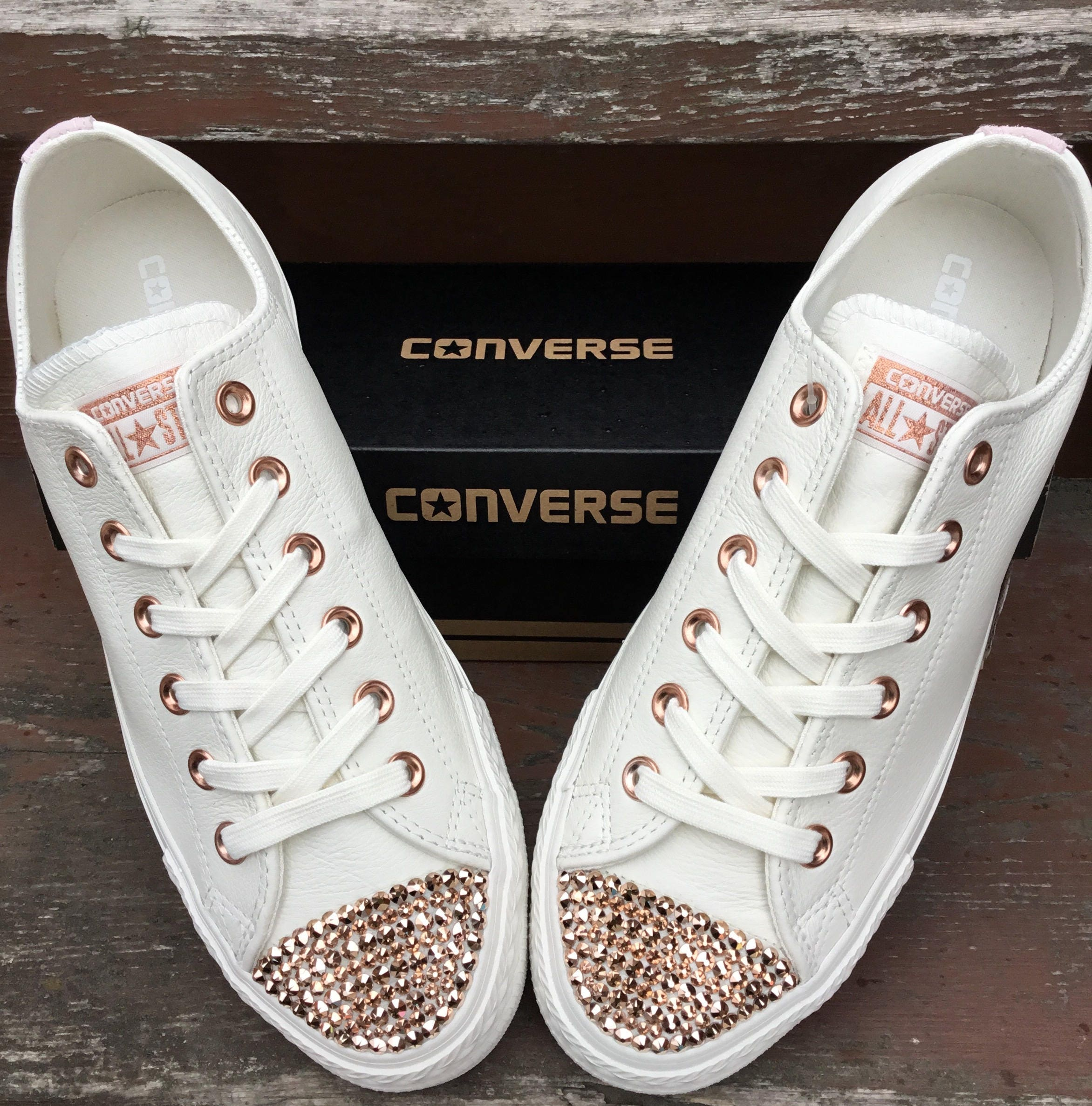 92adbd09130e Ivory Converse Leather Low Top Cream Blush Pink Rose Gold