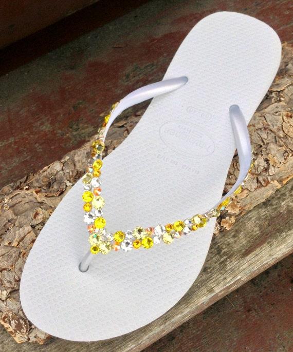 White Yellow Havaianas Slim Flip Flops Custom w/ Swarovski Crystal Rhinestone Beach Sea Glass Slipper Wedding sandal Bling Jewel Bridal shoe