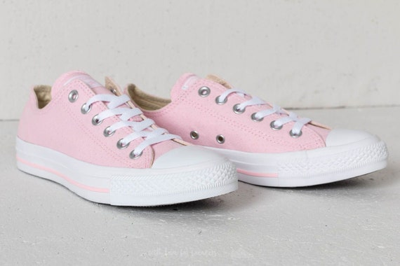 Baby Pink Converse Low Top Cherry Blossom Perforated Bridal w/ Swarovski Crystal Chuck Taylor Rhinestone All Star Bride Wedding Sneaker Shoe