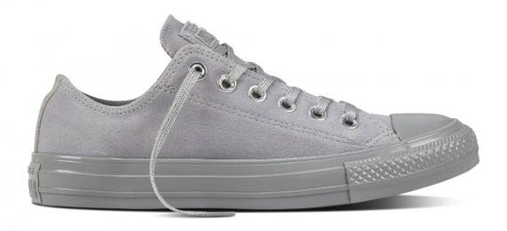 Gray Converse Dolphin Grey Silver Suede Leather Low Top Chuck Taylor w/ Swarovski Crystal Bling Rhinestones Wedding All Star Sneakers Shoes