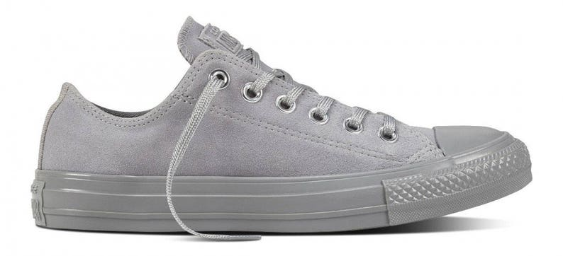 a01d74d23 Converse Gray Dolphin Grey Silver Suede Leather Low Top Chuck
