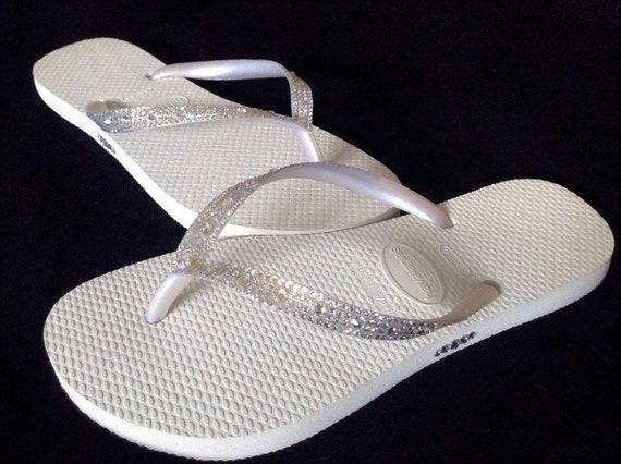 cfd20e5f09e841 Custom White Havaianas Slim Flip Flops w  Ivory Cream Crystal
