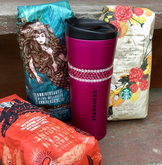 Starbucks Fuchsia Pink Stainless Steel Tumbler Coffee Cup w/ Swarovski Magenta Crystal Mug 16 oz Grande Holiday Travel Tea Gift Rhinestone