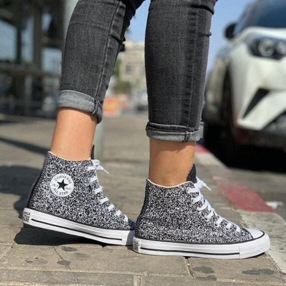 Black Glitter Converse Silver Sparkle High Top Gray Metallic Chuck Taylor Custom w/ Swarovski Crystal Rhinestone Bling All Star Sneaker Shoe