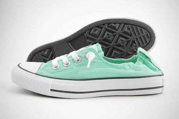 Mint Green Converse Shoreline Slip on Seafoam Low Top Aqua Pistachio w/ Swarovski Crystal Chuck Taylor Rhinestones All Star Sneakers Shoes